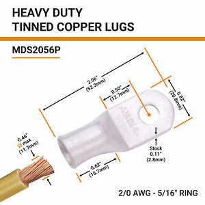 Selterm Tinned Copper Lugs Ring Terminal Marine Grade Battery Wire Welding Cable
