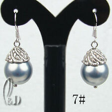 AU SELLER Lovely 12mm Large Grey Sea Shell Pearls Silver Earrings e003-7