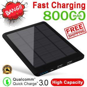 Solar Power Bank External 80000mAh Battery Phone Fast Charger Dual USB Charging