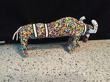 Vintage Folk Art Beaded Standing Bull Primitive Huichol