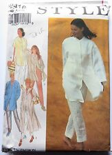 Style sewing pattern no. 2416 sizes 8-18 Ladies long top and pants like new