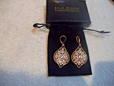 JOAN RIVERS Earrings Goldtone Multi Pink Enamel & Crystals Lever back Free Ship