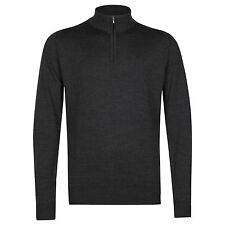 NEW John Smedley Wyvern Zip Turtle Neck Mens Jumper Charcoal Gray Men's Small