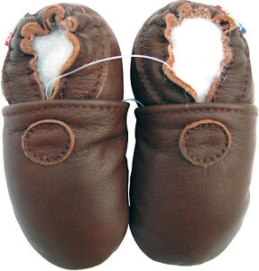carozoo soft sole leather baby shoes solid brown 0-6m