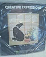Creative Expressions Needlepoint Kit Wistful Cat 3350 Vintage 1980 New Sealed