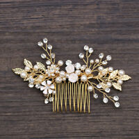 Gold Wedding Bridal Crystal Pearl Leaf Flower Hair Comb Slide Clip Pin Hairband