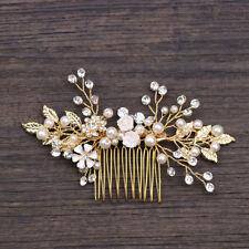 Gold Wedding Bridal Crystal Pearl Leaf Flower Hair Comb Slide Clip Pin Hairband