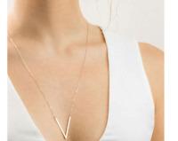 Damen lange Kette Halskette silber gold V Victory Blogger lang Statement Ethno