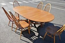 ERCOL Saville Solid Elm Light Wood Extendable Dining Table With 6x Chairs - P33