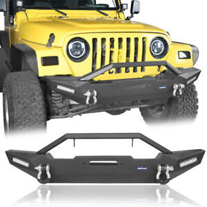 Fit for 97-06 Jeep Wrangler TJ Mid Front Bumper w/ LED Light & Winch Plate