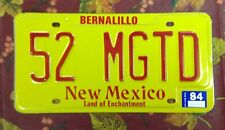 """52 MGTD"" NEW MEXICO YELLOW/RED PRESTIGE LICENSE PLATE 1984 MINT EXTREMELY RARE"