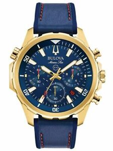 Bulova Men's Marine Star Chrono Blue Dial & Silicone Band Watch 97B168