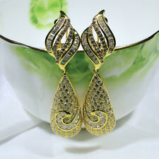 18K Yellow Gold Filled Clear CZ Fashion Jewelry Luxury Dangle Earrings E4707
