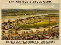 1883 Springfield Bicycle Club Tournament Vintage Style Cycling Poster - 20x28