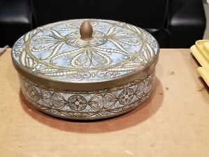 """Beautiful  Vintage Round Decorative Metal Tin - Made in England- 8"""""""