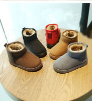 Child Kids Baby Boys Girl Snow Boots Winter Warm Fur Lined Outdoor Train Shoes