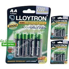 12 x Lloytron AA 2700 mAh Rechargeable Batteries NiMH LR6 HR6 MN1500 2600