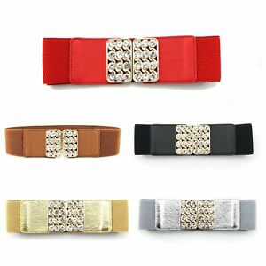 Women Elasticated Waist Belt 5 Colors with Gold Metal Buckle for Fashion Charm