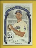 Clayton Kershaw 2016 Topps Allen & Ginter The Numbers Game Card # NG-65 Dodgers