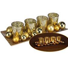 Windlicht-set In antik OPTIK Teelichthalter Tablett Gold Weihnachtskugeln Glas