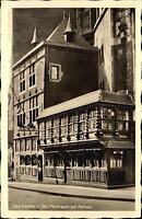 Bad AACHEN um 1940 alte AK Strassen Partie am Postwagen Restaurant Rathaus
