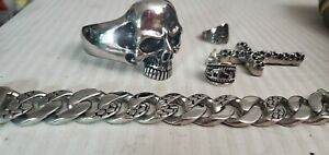 Huge Men's Skull Biker Jewelry Lot