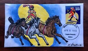 Circus, Ringmaster #2751 FDC, Kate Hayden cachet art, horses, rare cancel