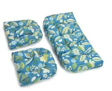 Outdoor All Weather 3pc Wicker Settee Chair CUSHION SET Blue Tropical Floral