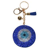 Evil Eye Keychain Bling Crystal Handbag Charm Backpack Clip On Fatima Charm Clip