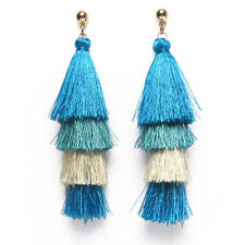 DAZZLING JUMBO 4 TIER MULTI COLOR BLUE FRINGE DROP STATEMENT EARRINGS