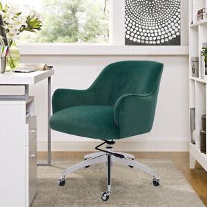 Upholstered Velvet Swivel Office Chair Gas Lift Armchair Padded Seat Desk Chairs