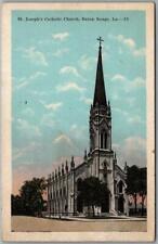 "Baton Rouge Louisiana Postcard ""St. Joseph's Catholic Church"" Street View c1920s"
