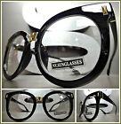 OVERSIZED VINTAGE RETRO Style Clear Lens EYE GLASSES Black  Gold Fashion Frame
