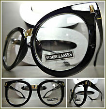 OVERSIZED VINTAGE RETRO Style Clear Lens EYE GLASSES Black & Gold Fashion Frame