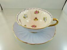 MINI FLOWERS  & BLUE FOOTED TEA CUP & SAUCER SET OLEANDER SHAPE BY SHELLEY ENG.