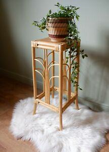 Vintage Retro Bohemian Style Bamboo Wicker Rattan Plant Stand / Table 1970s