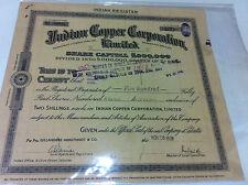 INDIAN COPPER CORP CALCUTTA EQ 500 STOCK SHARE CERTIFICATE REV INDIA 1938