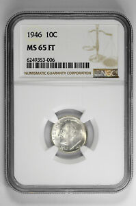 1946 10C Silver Roosevelt Dime NGC MS 65 FT