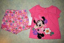 Girls size 2 Disney Minnie Mouse short sleeve top & shorts 2 piece pajamas set
