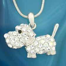 "DOG w Swarovski Crystal Pet Puppy Dogie Pendant Necklace Charm Gift 18"" Chain"