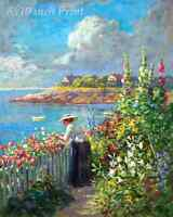 In the Garden by the Sea by Abbott Fuller Graves - Flowers Woman 8x10 Print 2399