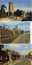 3 Postcards Chipping Campton Gloucestershire  Market Hall, Church, Almshouses