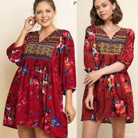 Umgee Floral Print V Neck Peasant 3/4 sleeve Boho Dress Tunic S