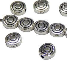 50 Metallperlen Spacer 6mm Silber Zubehör Schmuckherstellung Basteln BEST F367