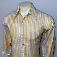 Vtg 60s 70s Dress Shirt Permanent Press Disco Big Collar Mod Striped MENS LARGE