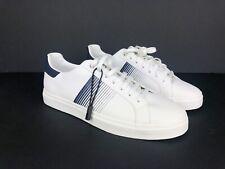Zara Man White Navy Blue Trainers Sneakers Size UK 6