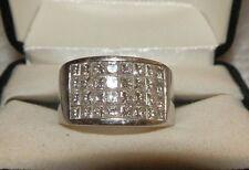 Custom Made Princess Cut Diamond 3-Row Invisible Set Ring 2.27Ct 14K WG