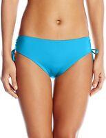 Calvin Klein Women's Side Shirred Hipster Swim Bikini Bottom, Cyan Blue