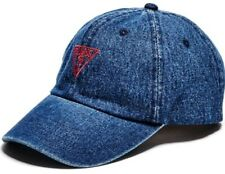 Guess Womens Baseball Cap Blue Denim Triangle Logo 6-Panel Snapback Sports Hat