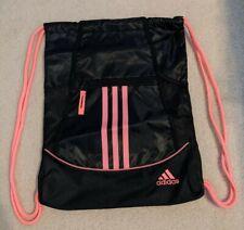 Adidas Drawstring Backpack Sackpack Sport Gym Bag School Soccer Black/Hot Pink